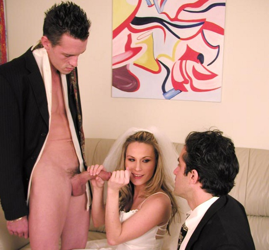 blonde bride having sex before cuckold groom
