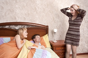 husband, mistress and surprised cuckquean